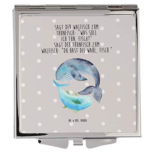 Mr. & Mrs. Panda schminken, Schminkspiegel, Handtaschenspiegel quadratisch Walfisch & Thunfisch mit Spruch - Farbe Grau Pastell