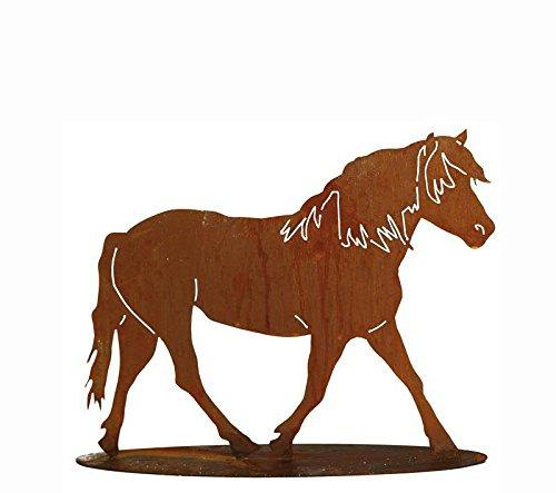 Rost Tierfigur - Kleines Metall Pferd / Mustang / Hengst / Pony - Höhe 50cm / Breite 65cm - Rost Dekoration / Metallfigur / Gartenfigur / Dekopferd / Pferdedeko / Metallpferd