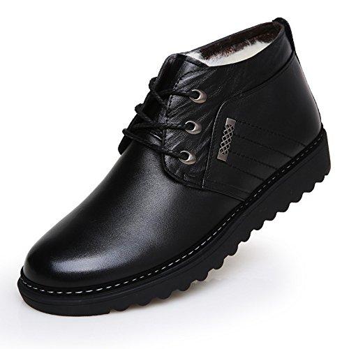 WZG Les nouvelles chaussures de coton matelassé, plus velours chaud hommes d'hiver bottes populaires bottes coton bottes de neige occasionnelles Black