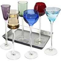7 Piece Long Stem Liqueur set | Artland Jewel Tone Cordial