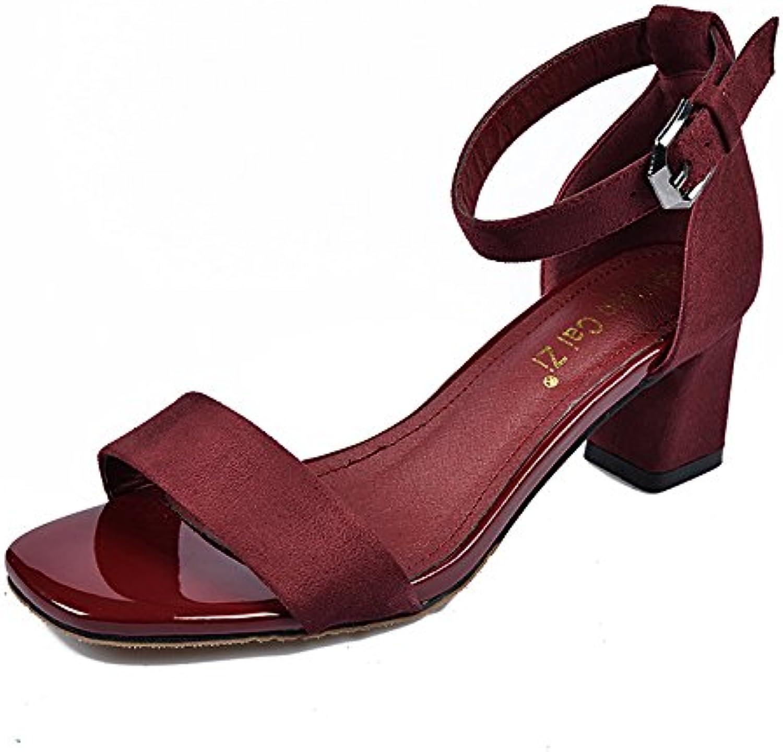 Hebilla Zapatos De Tacon Alto, Sandalias De Tacón Y Negro,Rojo,Eu35Cn36