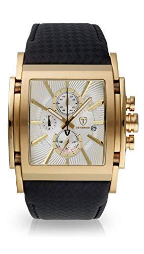 DETOMASO SAN Leone Herren-Armbanduhr Chronograph Analog Quarz Edelstahlgehäuse - Jetzt mit 5 Jahren Herstellergarantie (Leder - Schwarz)