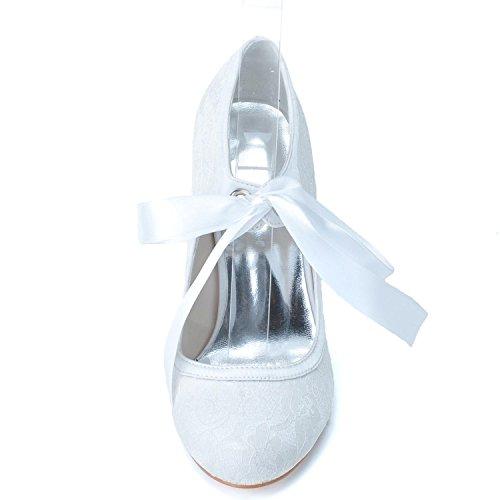 Elegant high shoes Scarpe da Donna con Tacco Basso da Donna TU-5623-06  Scarpe da Cerimonia Corte con Fiocco in Pizzo bc0bd54abe5