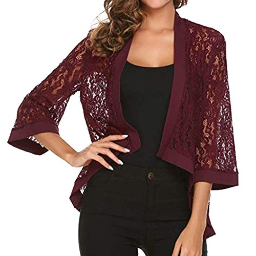 TWBB Damen Mantel,Herbst Winter Spitze Unregelmäßig Pullover Trenchcoat Coat Sweatshirt Strickjacke Outwear