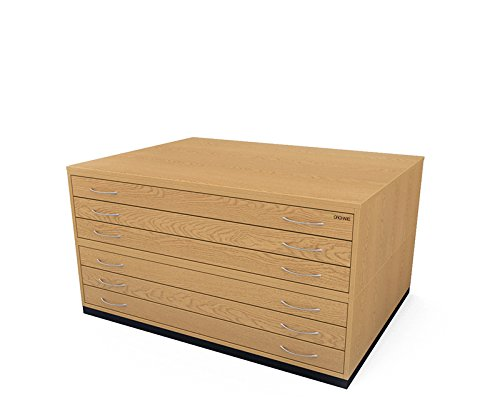 Traditionelle A06Schublade Plan Brust, Eiche hell Holz Papier Aufbewahrungsbox planchest mit Metall Griffen und glatten Läufer (Schubladen Metall-brust)