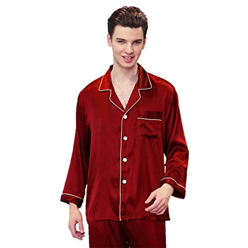 WanYangg Pijamas Hombre Satén Largo Clasico Conjunto