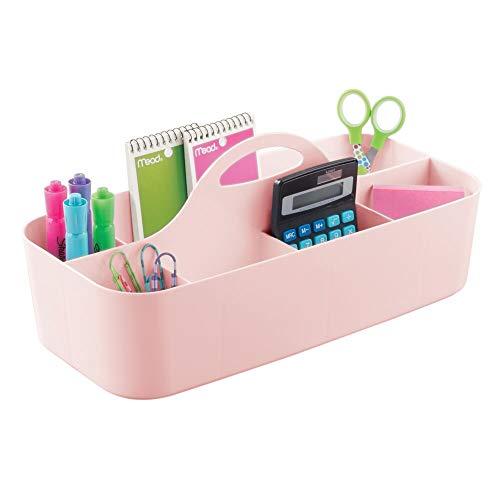 mDesign Organizador de oficina grande con asa - Prácticas cestas de plástico para escritorio - Organizadores de escritorios con 11 apartados para material de oficina - rosa