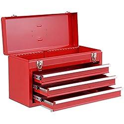COSTWAY Boîte à Outils avec 3 Tiroirs Coffret à Outils avec Compartiment Supérieur 52x21,8x30cm (Rouge)