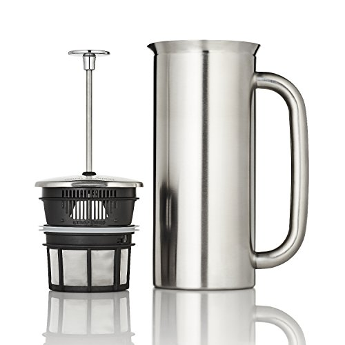 ESPRO French Press P7, Kaffee Stempelkanne mit Thermofunktion, Coffee-Maker, Kaffeezubereiter, Edelstahl gebürstet, 1 Liter