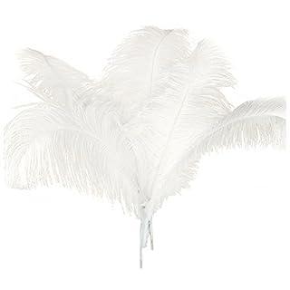 Globalflashdeal 10 Pcs Naturel Plumes D'Autruche Decoration Noel Blanc 45-50Cm