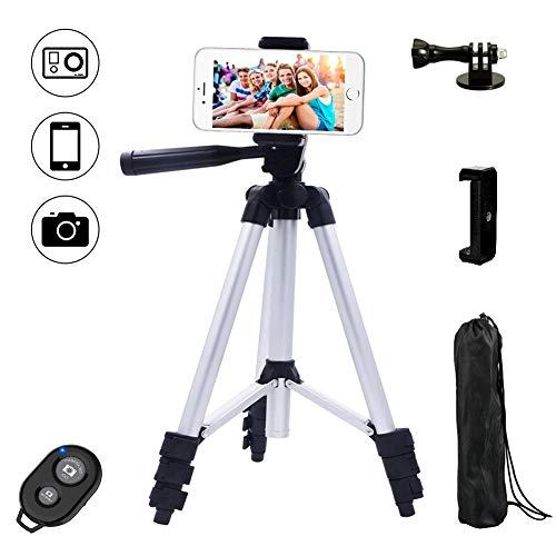 Dezuo 107 Alluminio Treppiede Smartphone Cavalletto per Cellulare Fotocamera Reflex iPhone Gopro Compreso Supporto Universale Telefono e Telecomando