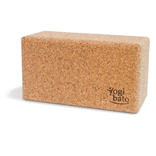 Yogibato Yogablock Kork stabil & rutschfest | Yoga Block 1er Set | Natur Korkblock für Yoga und Fitness - Pilates & Hatha Klotz - Cork Brick - Yogaklotz aus 100% Naturkork