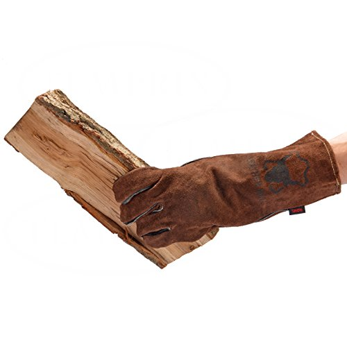 Handschuhe aus echtem Leder | geeignet für Kamin, Ofen, Grill & Backofen | Farbe braun | Version Light - Braun - | Markenqualität von Temprix