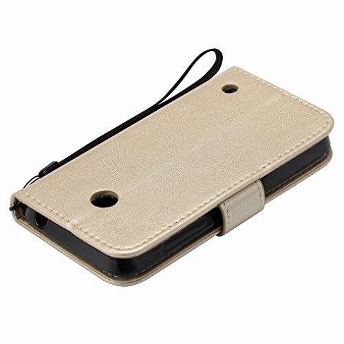 Custodia Microsoft Lumia 635 Cover Case, Ougger Fortunato Foglia Stampa Portafoglio PU Pelle Magnetico Stand Morbido Silicone Flip Bumper Protettivo Gomma Shell Borsa Custodie con Slot per Schede (Ros Oro