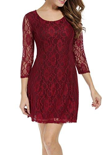Zeagoo Damen 3/4 Ärmeln Spitzenkleid Festliches Kleid Partykleid A-Linie Kleider (EU 38 (Herstellergröße: M), Weinrot)