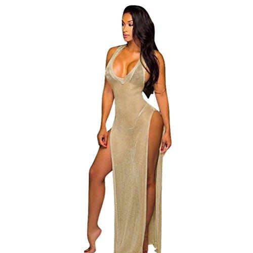 Damen V-Ausschnitt Abendkleid  TPulling Frau Mode Minikleid Sommer V-Ausschnitt Durchsichtiges...