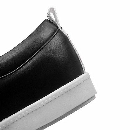 VogueZone009 Femme Lacet à Talon Bas Pu Cuir Couleurs Mélangées Rond Chaussures Légeres Noir