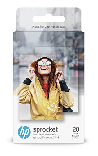 HP ZINK - Papel fotográfico adhesivo 20 hojas/5 x