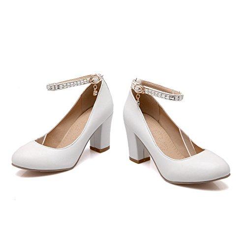AllhqFashion Femme Matière Souple Boucle Rond Couleur Unie Chaussures Légeres Blanc