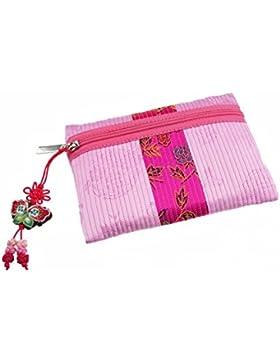 Elegante kleine Design Brieftasche für Frauen, rosa Farbe. Leicht und haltbar RamieStoff. Originalzubehör