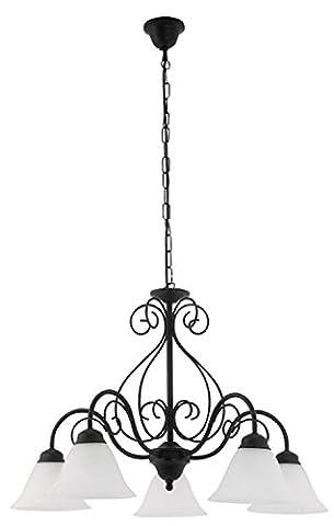 Rabalux Pendel Athen Farbe: matt schwarz/weißer Alabaster Klassik Höhe: 380 Durchmesser: 600