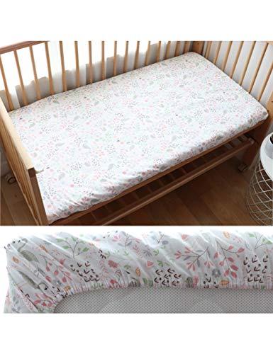 HAZUQU Bettlaken Baby Spannbetttuch Für Neugeborene Baumwolle Weiche Krippe Bettlaken Für Kinder Matratzenbezug Protector 130X70 cm, Rosa Schwan,