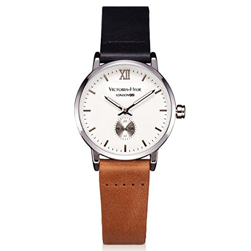 victoria hyde ladies quartz watches with small second hand waterproof replaceable genuine leather strap multicolor for women