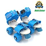Tavakkal Kids Plastic and Steel Adjustable Inline Roller Skates, 5-10 Years (Multicolour, Tec_SsFk01)