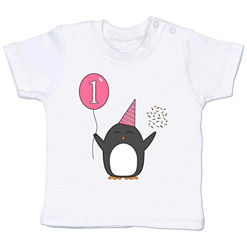 Geburtstag Geschenk für Babys - 1.Geburtstag - Baby - Rosa - Pinguin - Ballon - Konfetti - 12-18 Monate - Weiß - BZ02 - - Baby Jungen Mädchen T-Shirt Babies