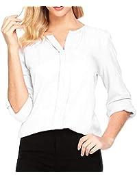 Hibote Mujer Blusa Camisa de chifón Cuello V Color Puro Manga Larga Suelto Camisa Otoño Básico