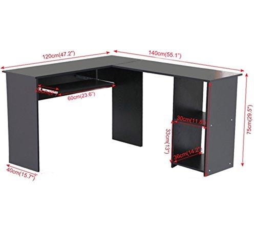 Large Corner Computer Desk Home Office Furniture Study Table Workstation Unit