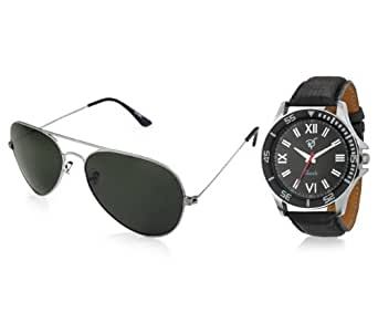 Rico Sordi Analogue Black Dial Watch with Sunglasses for Men- RSD10_WSG