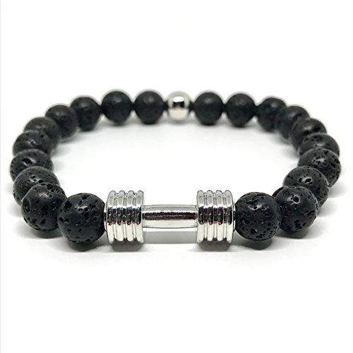 GOOD.designs Bracciale in vera nero Naturale-pietre Lava, Manubri-ciondolo, gym- bodybuilding- fitness- motivazione- vulcano braccialetti