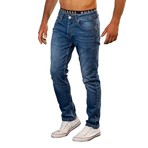 Gelverie Herren Hose Jeans for Man I Jeanshose Slim Fit I Für Männer I Leichter Stretch I Medium Blue Denim, W32 / L34 -