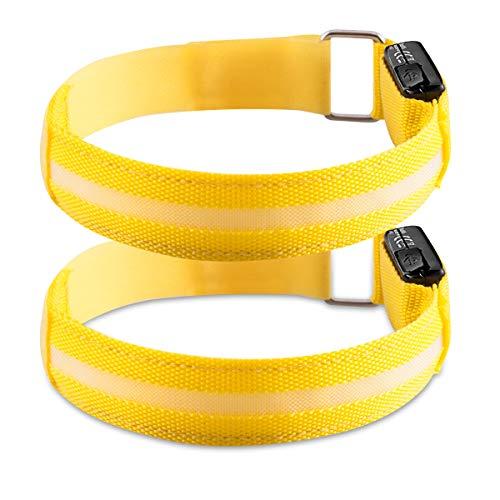 kwmobile Fascia da Braccio LED Ricaricabile - 2X Bracciale Sicurezza Alta visibilità Sport Corsa Bici - Fascetta Luminosa Cavo USB - Cinturino Giallo