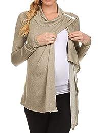 Premamá Invierno Leggins Abrigos Mujer De Manga Larga Capucha Cuello Lado Abierto EnfermeríA Tops Camisetas Lactancia Materna