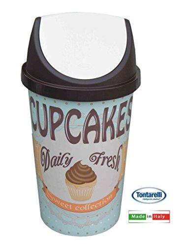 Tontarelli Poubelle basculante Vintage 45 l Motif Cupcakes