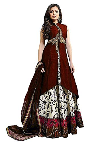 Varudi Fashion Women\'s Taffeta Silk Embroidered Semi-Stitched Anarkali Gown | womens party wear | Today preminum new gowns | new design collection 2018 | new design dress