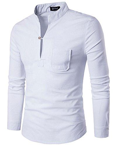 Herren Langarmshirt Slim Fit Stehkragen Hemd Freizeithemd Weiß