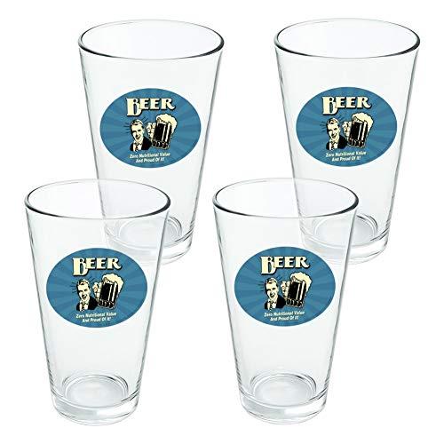 Bière Zero valeur Nutritive et Fier de Lui Funny Humour fantaisie 453,6 gram Pinte à boire en verre trempé - Lot de 4