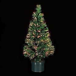 DECORACIÓN DE NAVIDAD: Árbol de Navidad artificial luminoso de fibra óptica con macetero incluido - Las luces cambian de color - 120 cm de alto