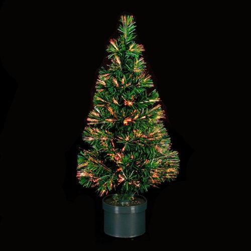 ALBERO DI NATALE artificiale con vaso - LUMINOSO, in fibra ottica - Luce a variazione cromatica - Altezza 120 cm