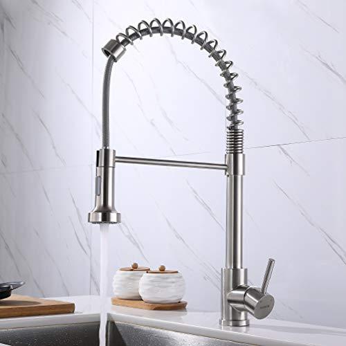 KAIBOR Schöne Küchenarmatur mit ausziehbarer Spiralfeder, Wasserhahn Küche mit Brause Ausziehbar, Gebürstete Edelstahl Armatur für Küchen spüle mit Geschirrbrause