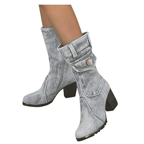BIKETAFUWY Damen Stiefeletten Rom Damenstiefel Flandell Warm Gefüttert Schuhe Kurzschaft Stiefel Worker Boots Blume Sticken Quadratische Niedrige Absätze Winter Casual Boots