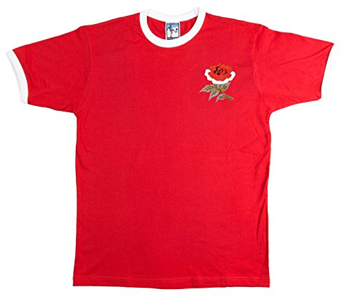 Retro England National T-Shirt Rugby gesticktes Logo (rot) rot rot xxl