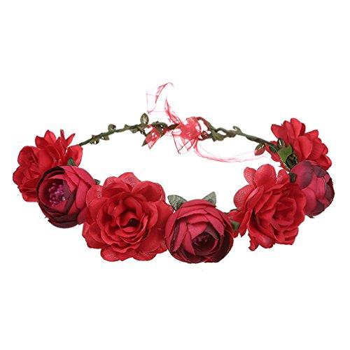 Amorar Handgemachte rote Rose Blume Garland Stirnband, Haar Kranz Halo Floral Krone für Festival Hochzeit, Kopfbedeckung mit Band,EINWEG Verpackung (Halo Haar)