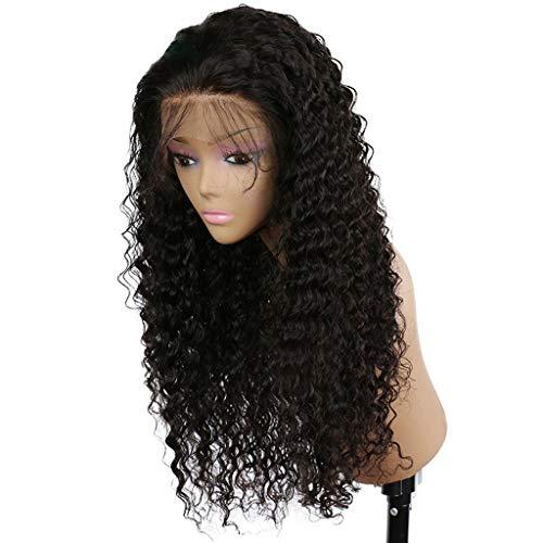 (Junjie Lockige Perücke Glueless Volle Spitze Perücken Schwarze Frauen Indische Remy Menschenhaar Spitzefront Mittellang schwarz Perücke Wig)