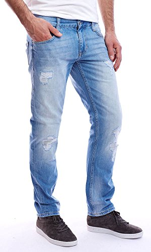 Jeans New Oregon Tapered Classic Authentic Ring Denim Heavy Dirty Washed MustangHerren Blau