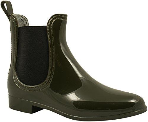 Elara Damen Gummistiefel | Bequeme Lack Stiefeletten | Chelsea Boots Olive Grün