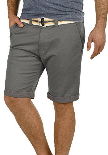 SOLID Lagos Herren Chino-Shorts kurze Hose Business-Shorts mit Gürtel aus hochwertiger Baumwollmischung, Größe:L, Farbe:Dark Grey (2890) (Baumwollmischung Hosen)